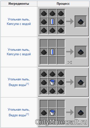 Угольная пыль в minecraft как сделать