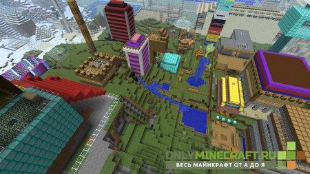 Вид на город в Майнкрафт на Андроид